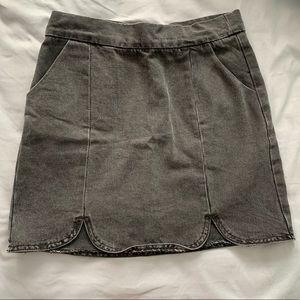 Faded Black Scalloped Denim Mini Skirt